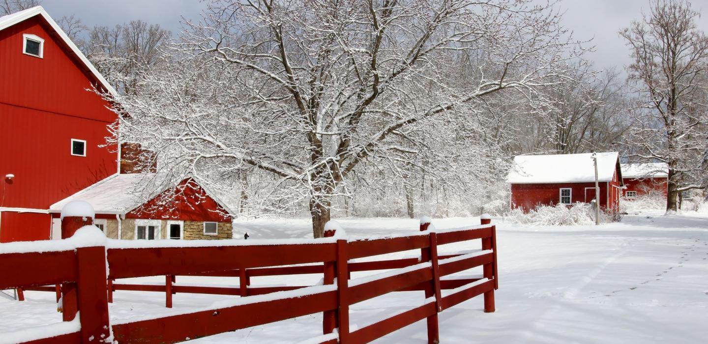 Snowy farm in Wisconsin