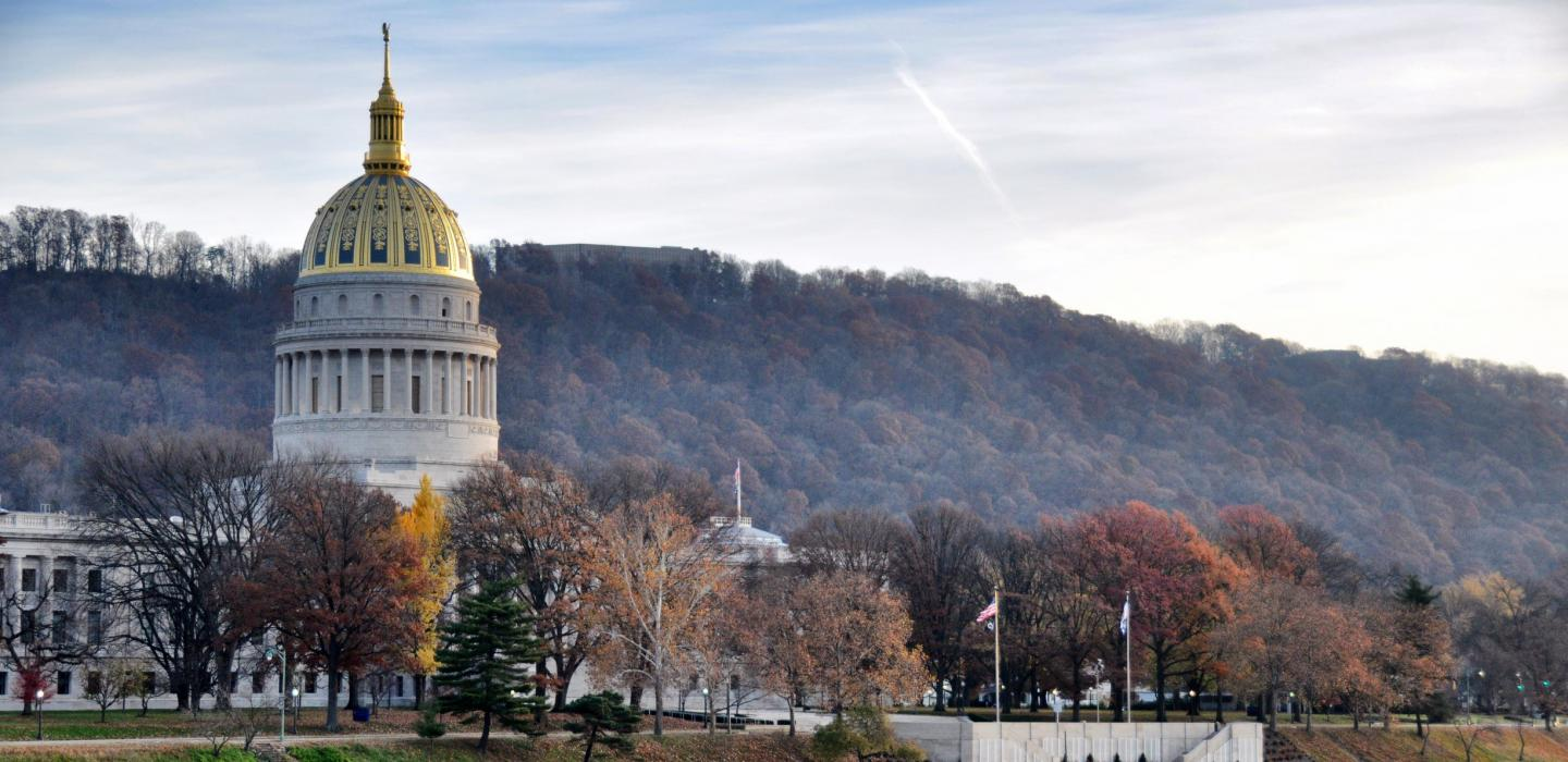 cathedral like building during the fall in West Virginia