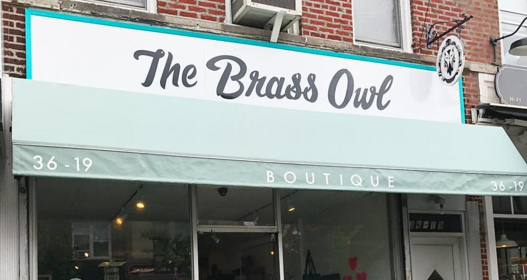 Storefront of the Brass Owl, located in Brooklyn, NYC