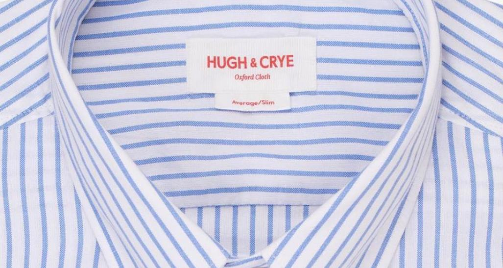 closeup of a hugh & crye shirt