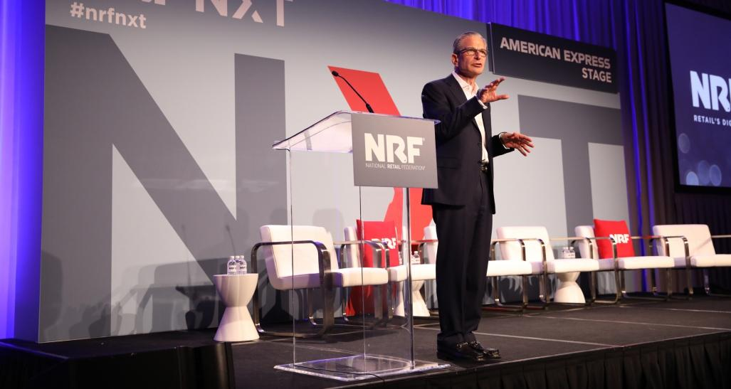 Harvard's Jeffrey Rayport delivering opening remarks at NRF NXT