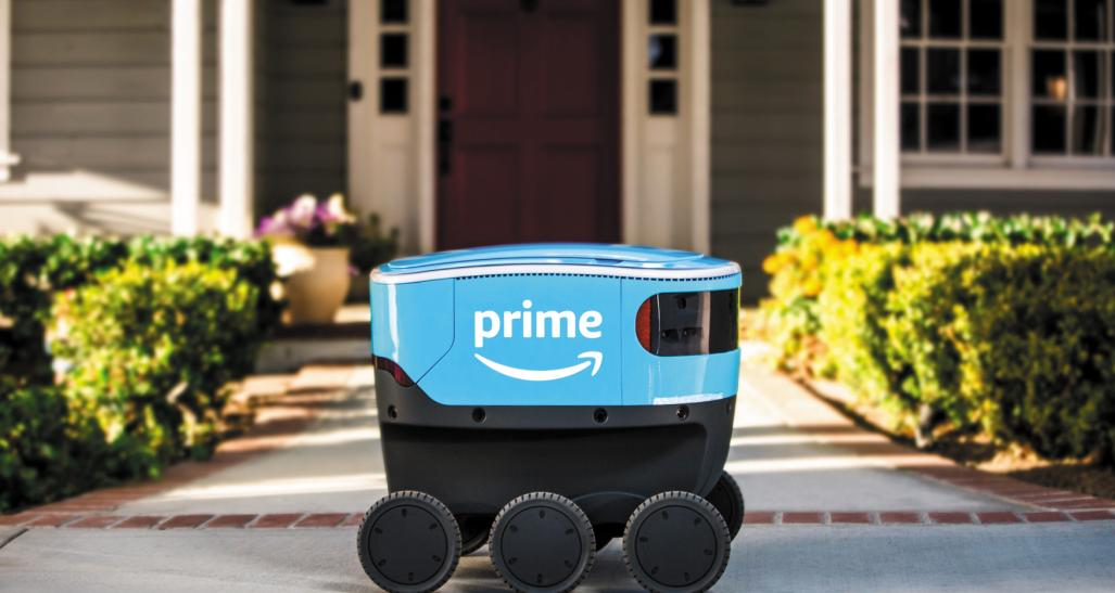 Amazon Scout robot making a delivery