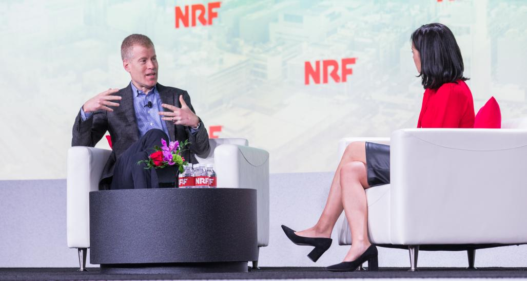 Erik Nordstrom speaks on stage at NRF 2020