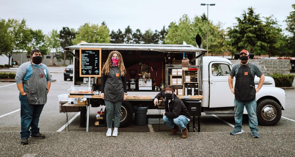 Coffee food truck with staff