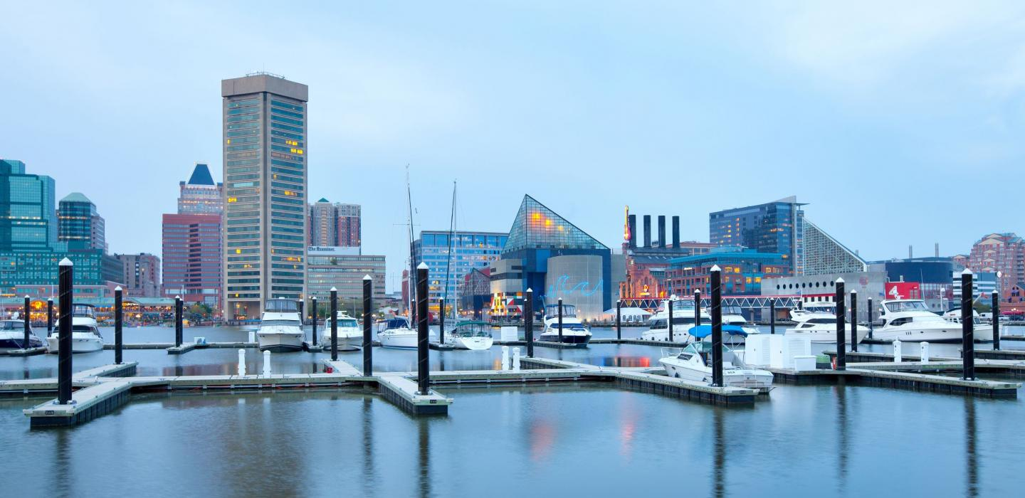 Baltimore's inner harbor located in Maryland.