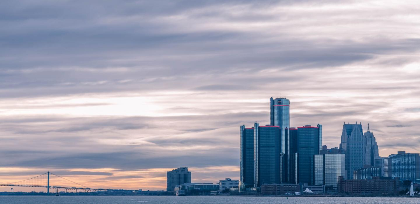 A skyline view of Detroit, Michigan.