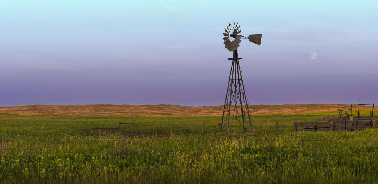 A windmill on a farm in Nebraska.