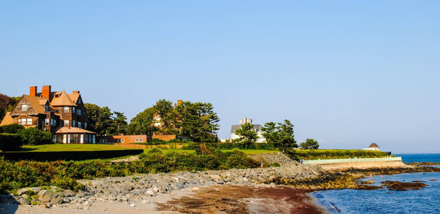 A lakefront house along the coast of Rhode Island.
