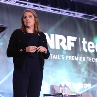 Katie Finnegan of Walmart's Store No 8 speaking at NRFtech 2018