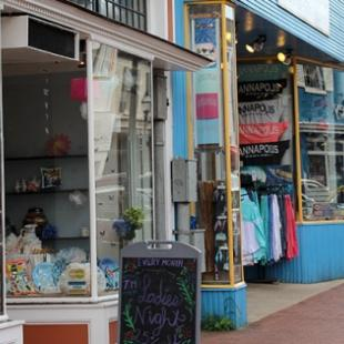 A shot of shops in downtown Annapolis, Maryland