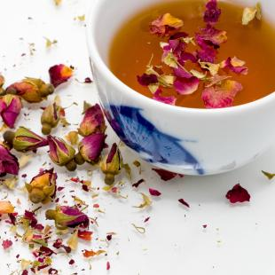Cup of tea with flowers infused