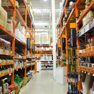 store aisles in home depot