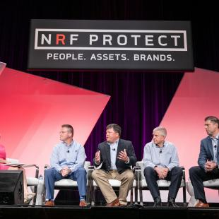 retail to the rescue panel on stage at NRF Protect in Dallas