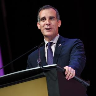 Eric Garcetti speaks at shop.org 2017 in Los Angles, CA