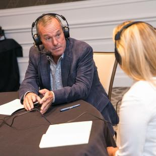 NRF's Bill Thorne records a podcast with Michelle Kelly