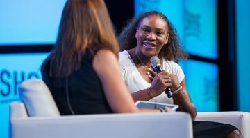serena williams is interviewed at shop.org in las vegas
