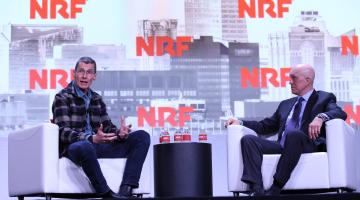 Chip Bergh of Levi's and NRF's Matthew Shay on stage at NRF 2019