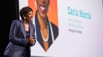 Carla Harris speaks on stage at NRF PROTECT in Anaheim