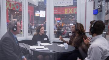 Experts from Indeed record a podcast with NRF
