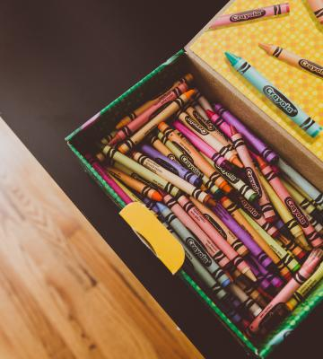 Box of crayons at school for kids