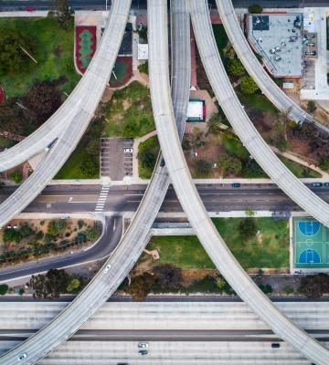 Overhead shot of freeway outside of San Diego