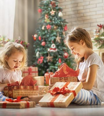 Girls opening gifts
