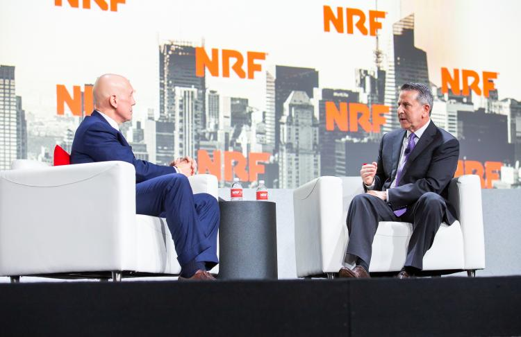 NRF's Matthew Shay with Brian Cornell of Target on stage at NRF 2019