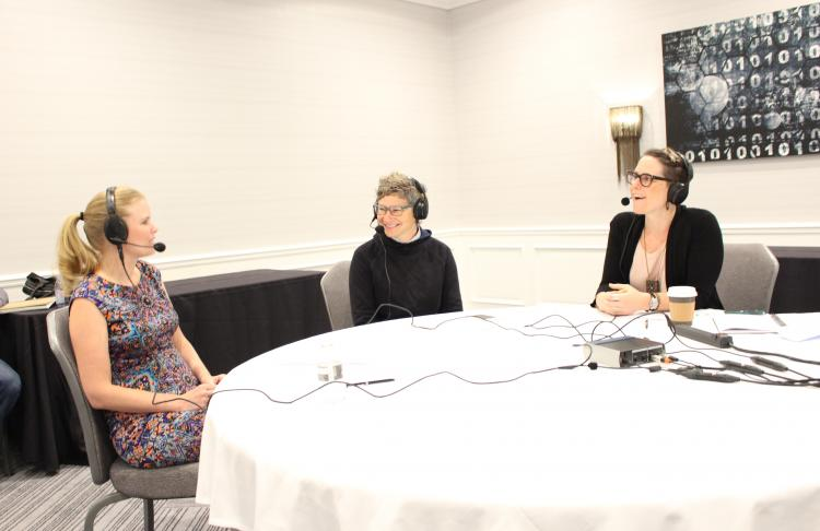 Sarah Rand, Amy Vener and Kris Stewart record a podcast